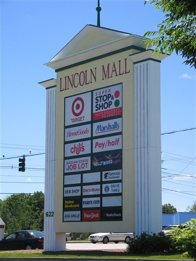 Lincoln Mall pylon in Lincoln, Rhode Island