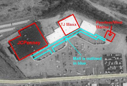 Labelled 1995 satellite view of Newport Mall in Newport, RI