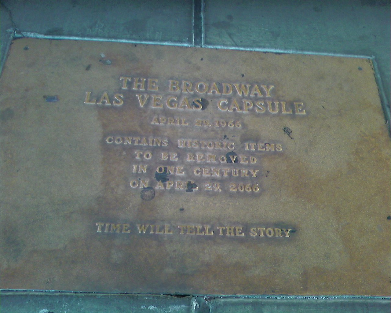 Time capsule in front of Macy's at Boulevard Mall in Las Vegas, NV