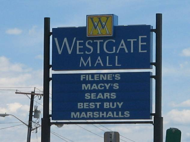 Westgate Mall pylon in Brockton, MA