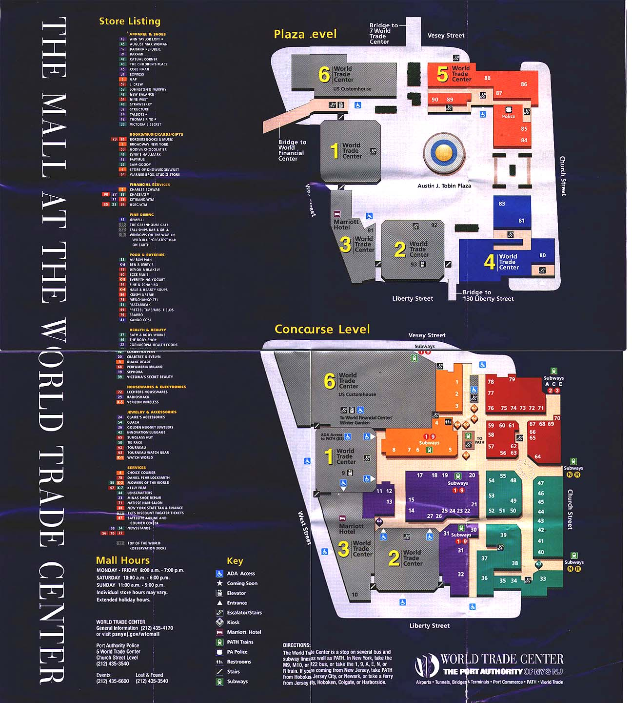 the mall at the world trade center new york new york  world trade center directory map from 1999 or 2000