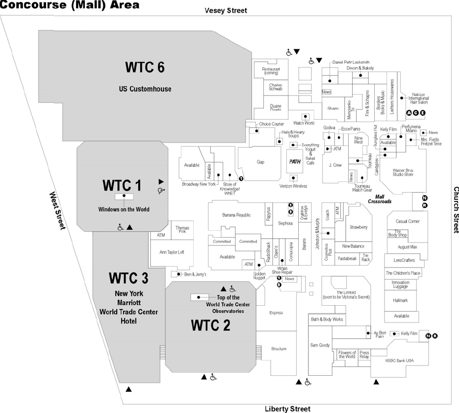 The Mall at the World Trade Center Concourse Map, created by the National Institute of Standards and Technology after the disaster.