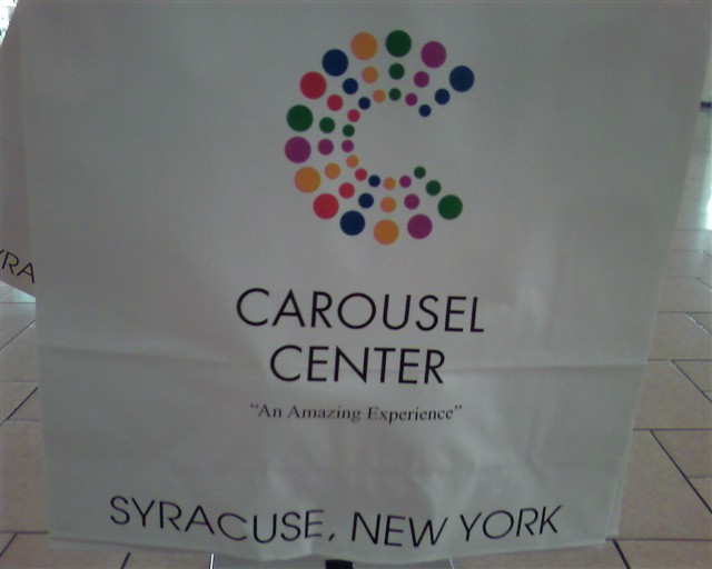 Carousel Center Mall shopping bag in Syracuse, New York