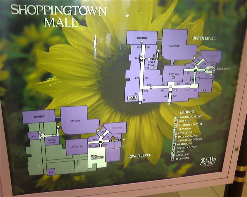 Mall directory & floorplan at Shoppingtown Mall in DeWitt, New York