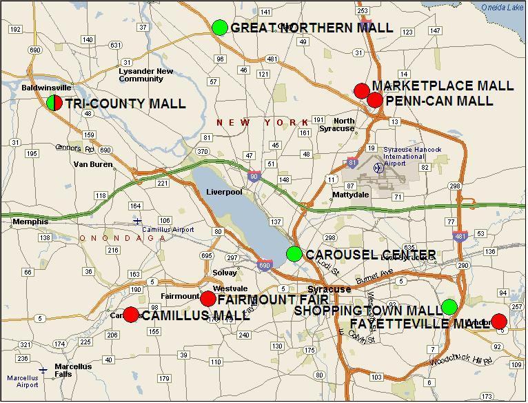 Map of Syracuse-area malls