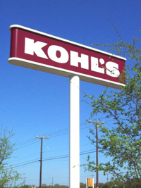 Kohl's typical sign pylon