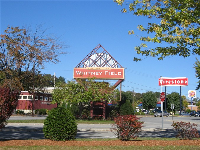 Mall at Whitney Field sign in Leominster, MA