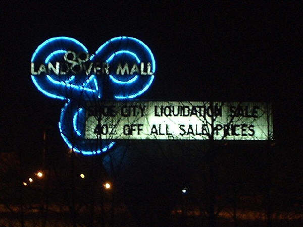 Historic photo of the Landover Mall pylon at night