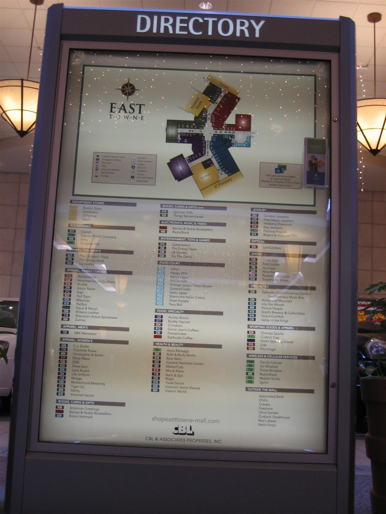 East Towne Mall directory in Madison, WI