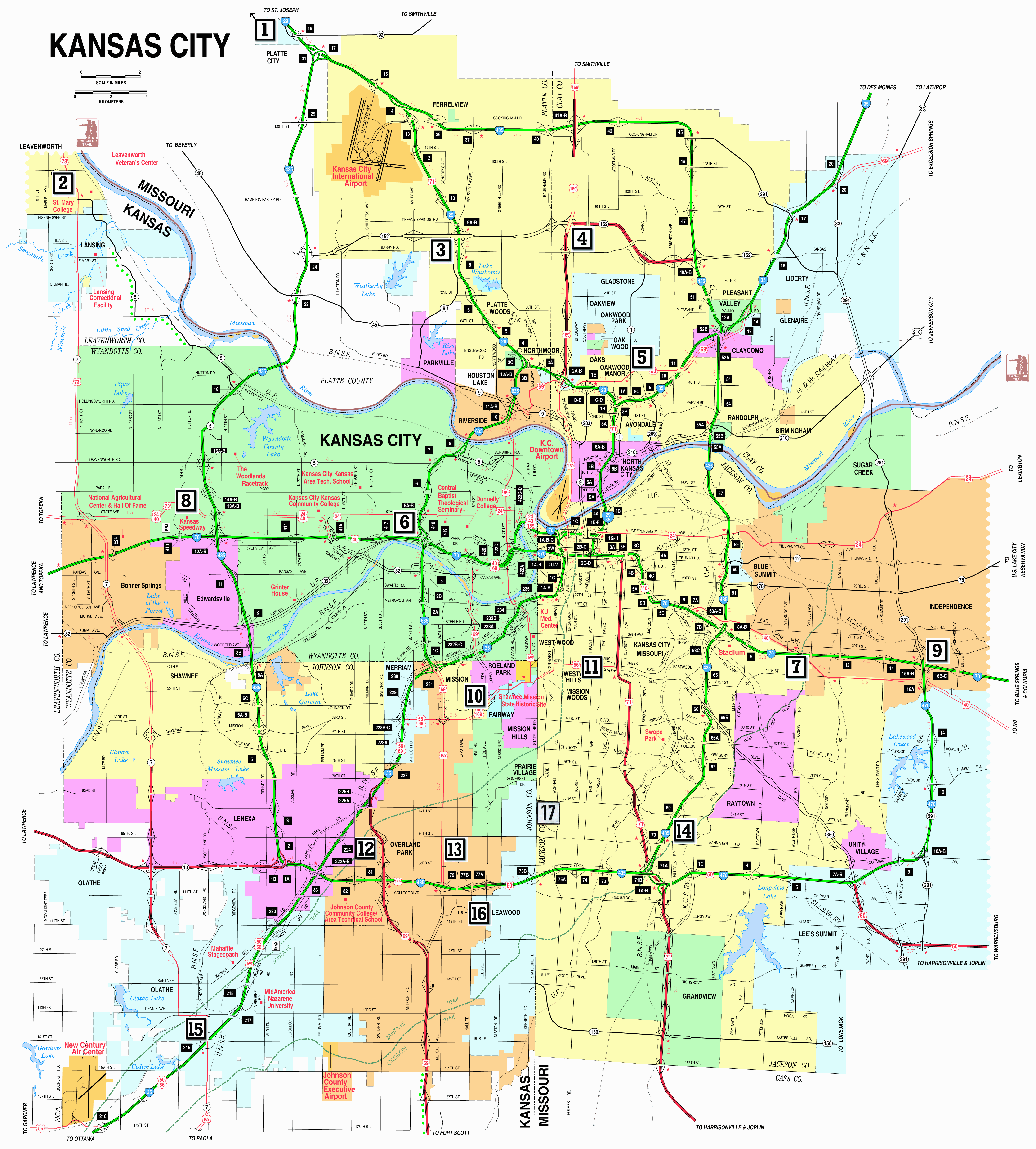 Map of Kansas City Metropolitan Area.  Click on map to enlarge.
