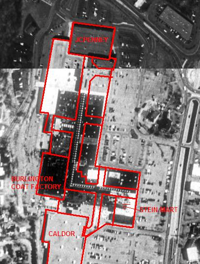 Latham Circle Mall (circa 2000) satellite view and floorplan