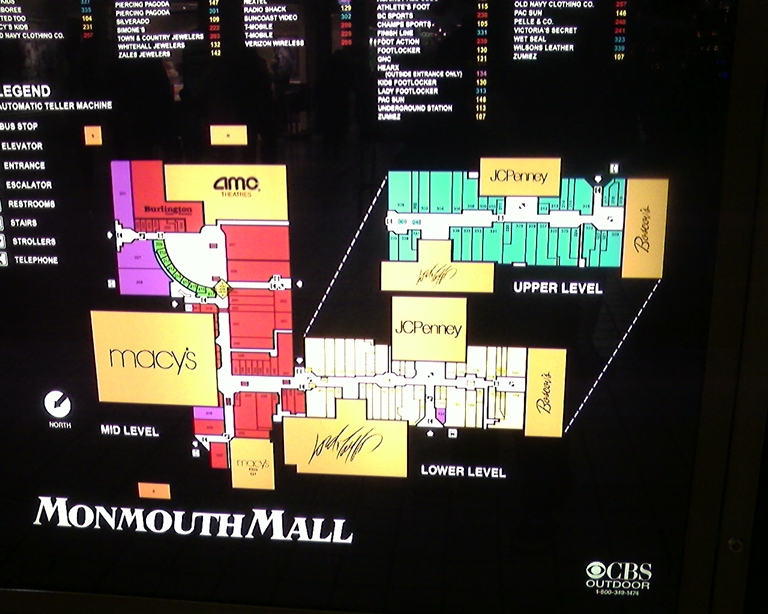 Mall directory at Monmouth Mall in Eatontown, NJ