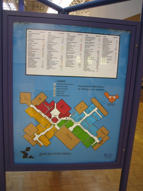 San Jacinto Mall directory in Baytown, TX