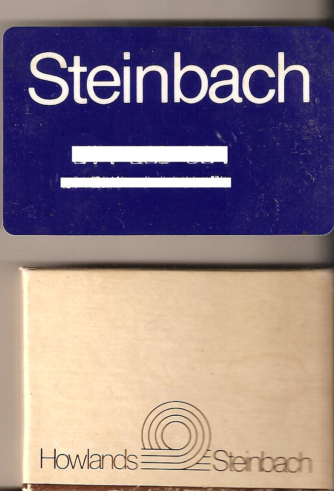 Steinbach Credit Card and Howland-Steinbach gift box from the mid-1980s