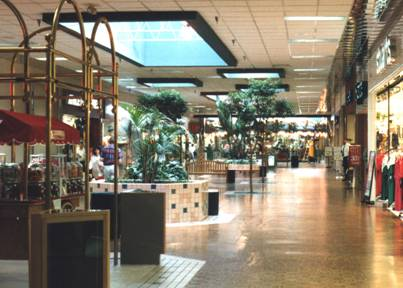 Green Tree Mall's JCPenney wing in 1993, facing towards the center court carousel.