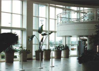 Front entrance interior of the River Falls Mall in 1993. The stairs lead up to the food court.