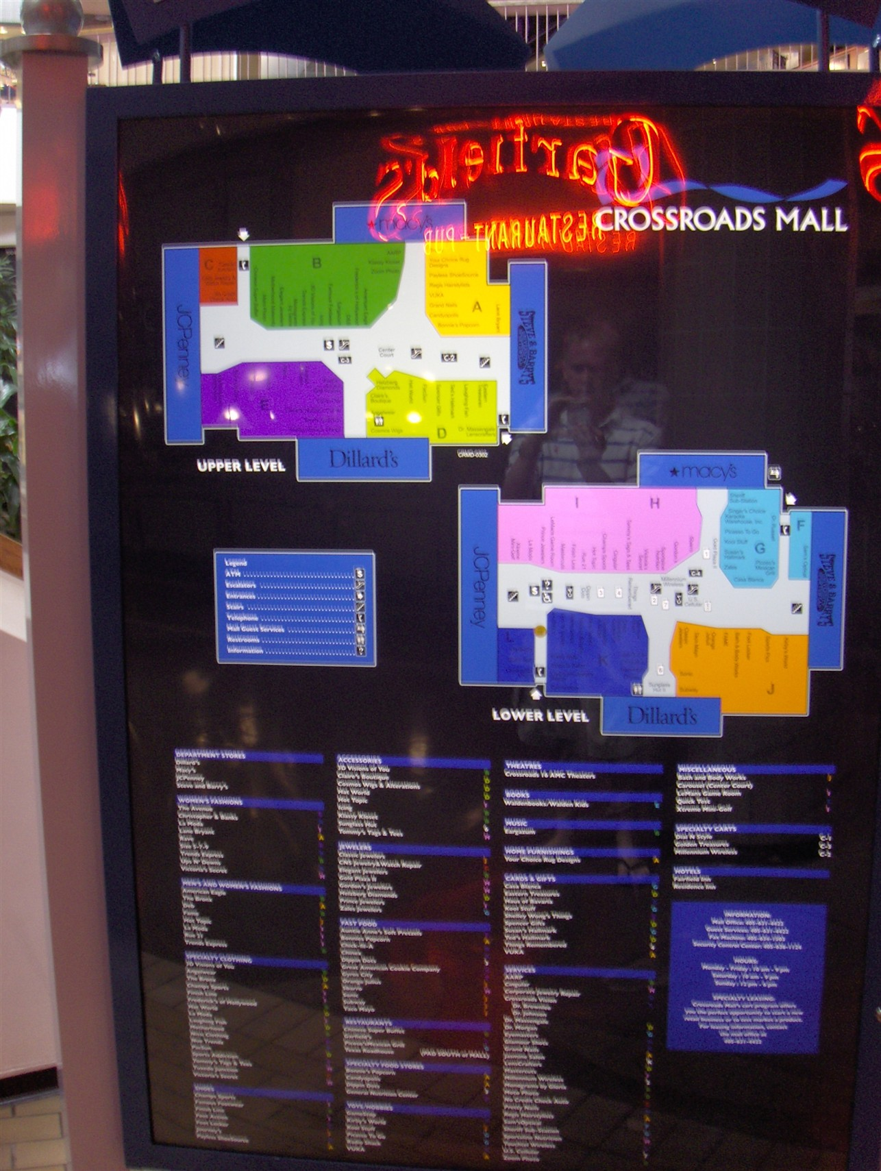 Crossroads Mall directory in Oklahoma City, OK
