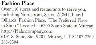 Salt Lake City Visitors Guide description of Fashion Place Mall