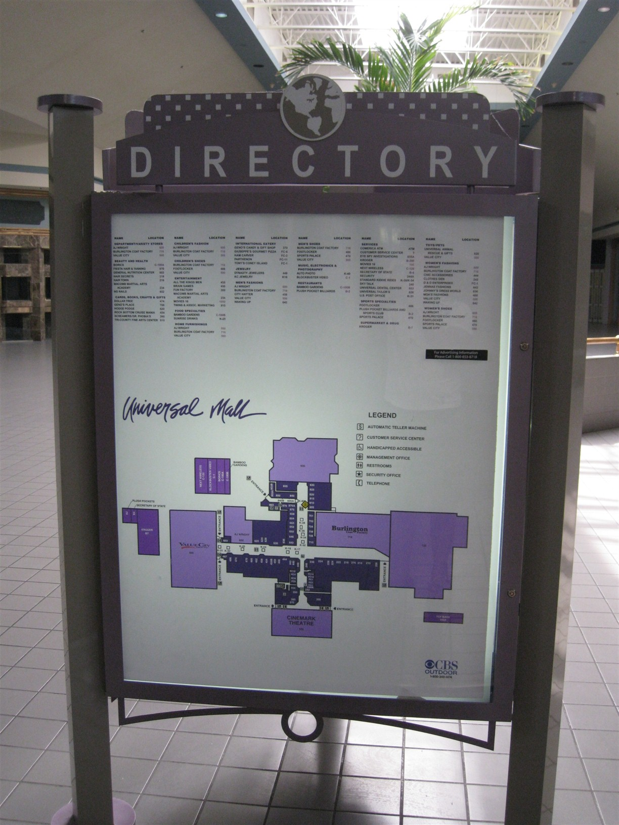 Universal Mall directory in Warren, MI