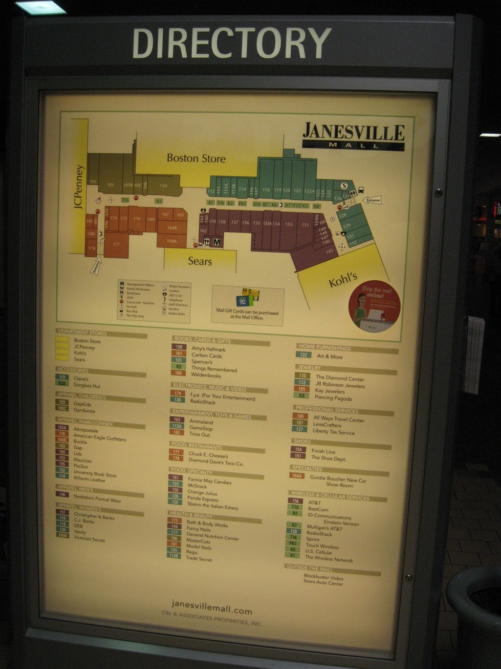 Janesville Mall directory in Janesville, WI