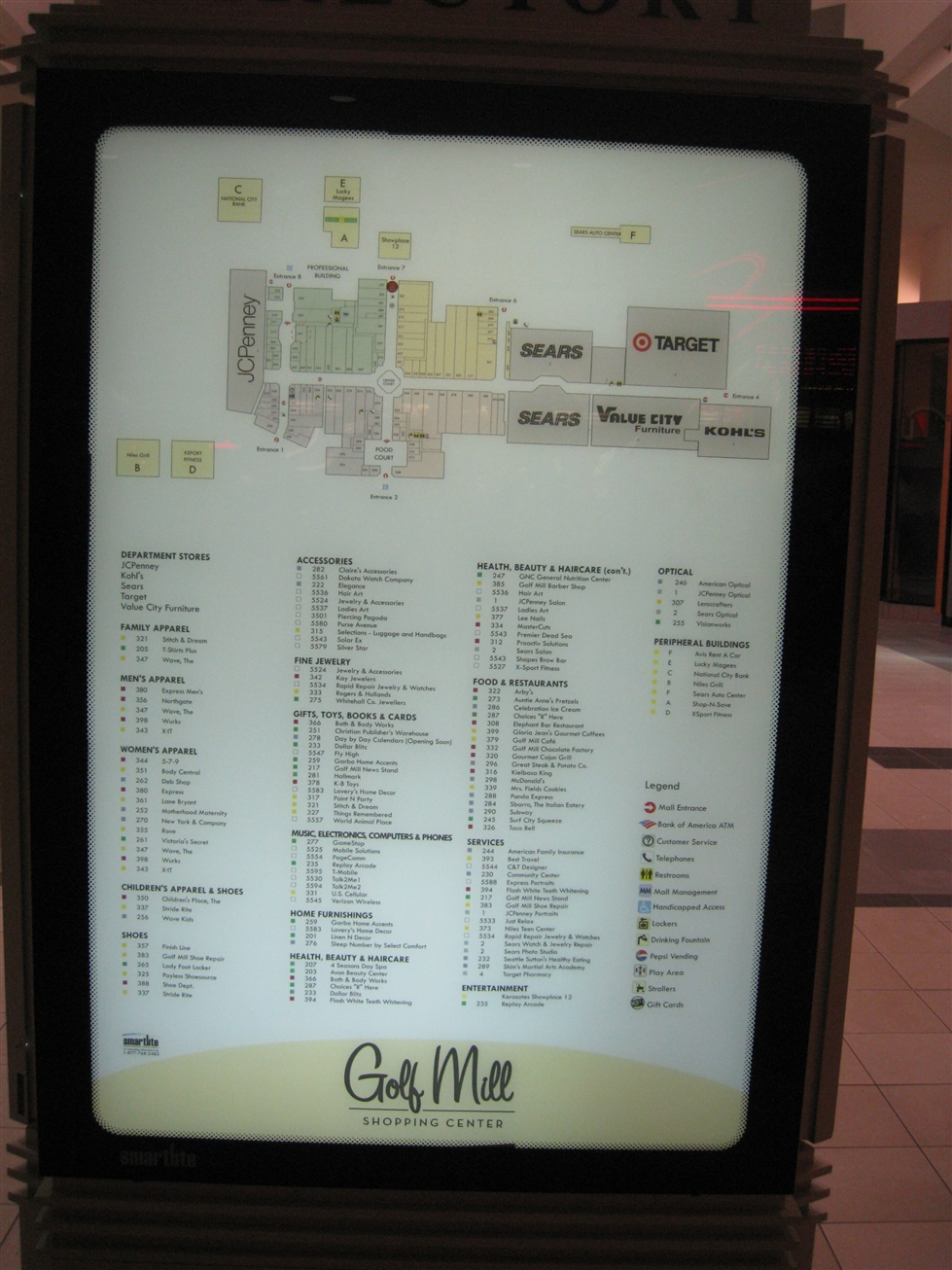 Golf Mill Shopping Center directory in Niles, IL