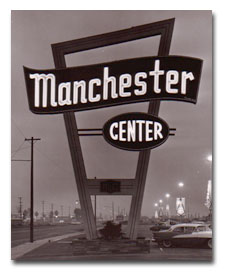 Historic Manchester Center signage from FresnoNeon.com