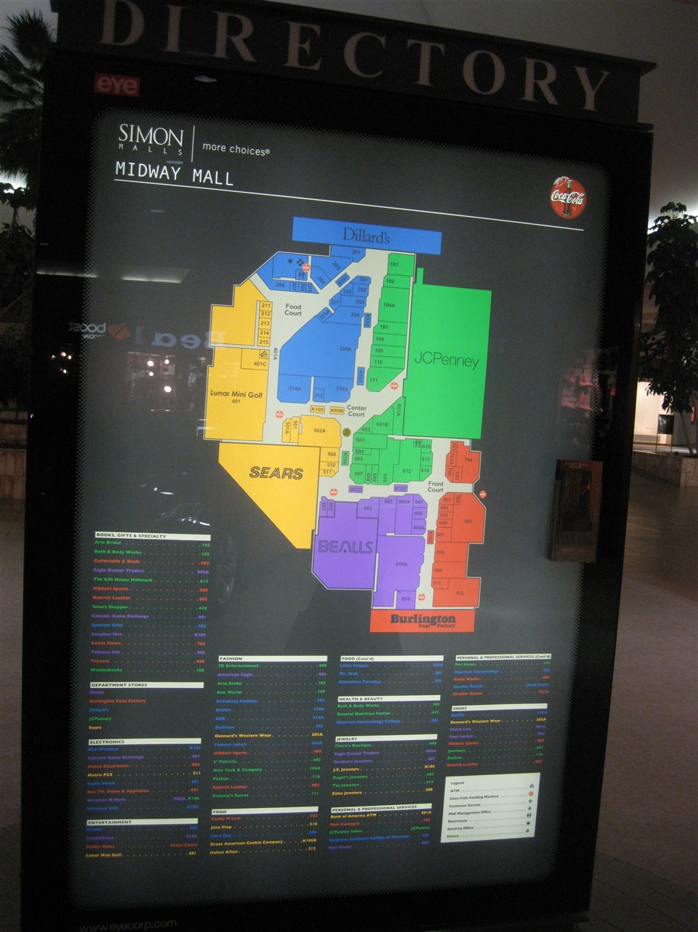 Midway Mall directory in Sherman, TX